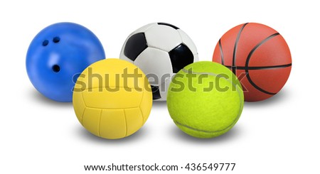 The balls for many sports in a shape of Olympic logo. - stock photo