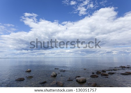 The baltic sea a nice summers day, wide angle photo - stock photo