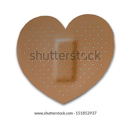 The Bandage of heart isolated on white background - stock photo