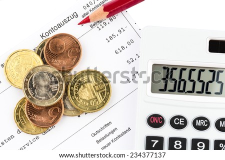 the bank statement and some coins of euro currency - stock photo
