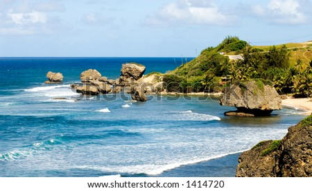 The Barbados Fishbowl - Surfing Mecca - stock photo
