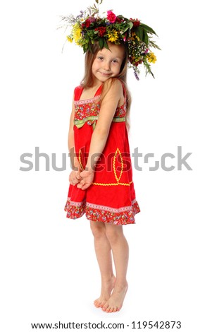 the barefooted girl in a red dress with a wreath on the head.isolated on white. - stock photo