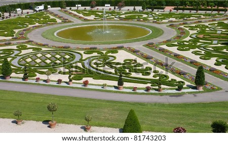 The baroque gardens of Ludwigsburg castle in Baden Wuertemberg in Germany during the summer - stock photo