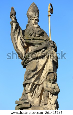 The baroque Statue on the Charles Bridge, Prague, Czech republic - stock photo