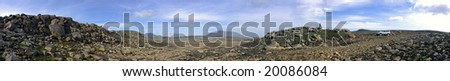 The barren, rough terrain of the Kjolur Highland Route in Iceland - stock photo