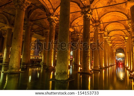"The Basilica Cistern (""Sunken Palace"", or ""Sunken Cistern""), is the largest of several hundred ancient cisterns that lie beneath the city of Istanbul (formerly Constantinople), Turkey. - stock photo"
