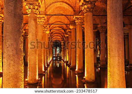 The Basilica Cistern (Turkish: Yerebatan Sarayi - Sunken Palace), is the largest of several hundred ancient cisterns that lie beneath the city of Istanbul, Turkey. - stock photo