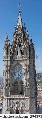 The Basilica del Voto Nacional is a Roman Catholic Church in Quito, Ecuador. This is the largest Neo-Gothic basilica in the Americas. Quito, Ecuador 2015 - stock photo