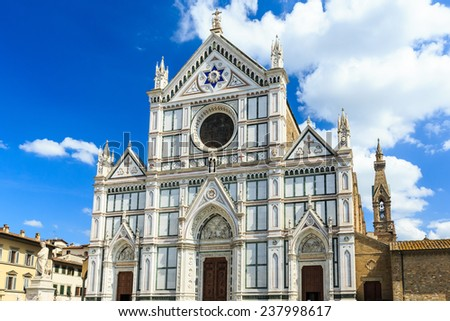 The Basilica di Santa Croce (Basilica of the Holy Cross). Florence, Italy - stock photo