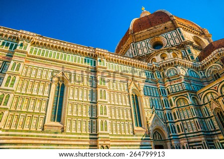 The Basilica di Santa Maria del Fiore (Basilica of Saint Mary of the Flower) in Florence, Italy. Detail. - stock photo