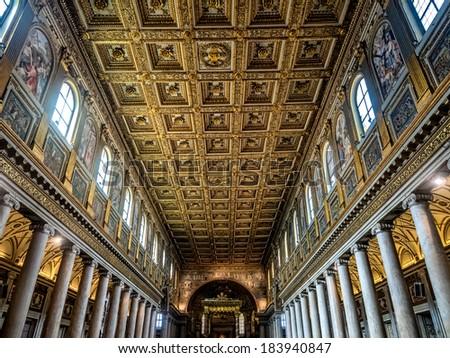 The Basilica di Santa Maria Maggiore, the largest Roman Catholic Marian church in Rome, Italy - stock photo