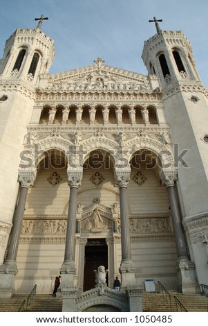 The basilica (Lyon - France) was erected to thank the Blessed Virgin Mary who had protected the town during the 1870 war with the prussians. - stock photo