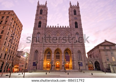 The Basilica of Notre-Dame in Montreal (Church) - stock photo