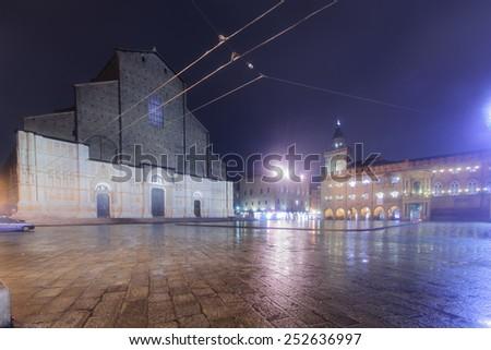 The Basilica of San Petronio and Piazza Maggiore, in Bologna, Emilia-Romagna, Italy - stock photo
