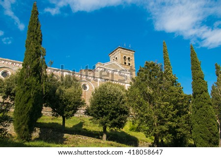 The Basilica of Santa Margherita is located high in the town of Cortona - stock photo