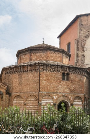 The basilica of Santo Stefano encompasses a complex of religious edifices in the city of Bologna, Italy. Church of the Holy Sepulchre - stock photo