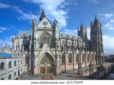 THE BASILICA OF THE NATIONAL IS A ROMAN CATHOLIC CHURCH LOCATED IN THE HISTORIC CENTER OF QUITO, ECUADOR   - stock photo