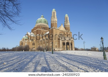 The Basilica of the Sacred Heart in winter, Brussels, Belgium (December 2014) - stock photo
