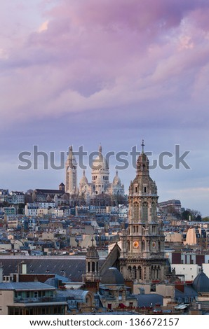 The Basilica of the Sacred Heart - Sacre Coeur, Paris at sunrise - stock photo