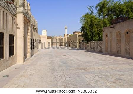 The Bastakiya Quarter in Dubai, UAE - The Bastakia quarter, or Bastakiya, is an area of Dubai on the Bur Dubai side of the Dubai Creek that dates from the 1890s. - stock photo