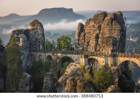 The Bastei bridge, Saxon Switzerland National Park, Germany - stock photo
