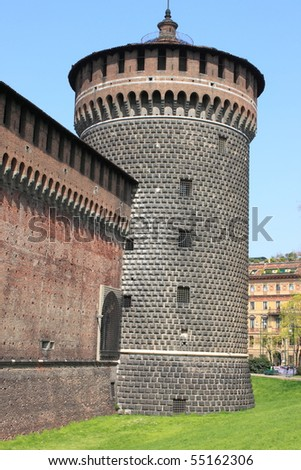 The bastion of Sforzesco castle in Milan, Italy - stock photo
