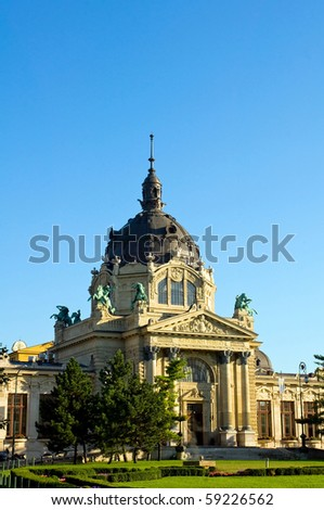 The Bath Szechenyi in Budapest, Hungary - stock photo
