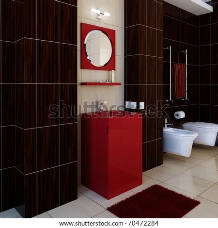 The bathroom in modern style. Modern furniture - stock photo