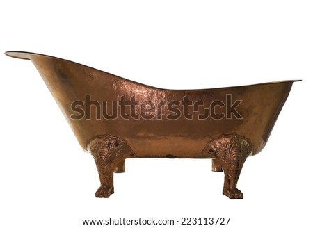 The bathtub copper on isolated background - stock photo