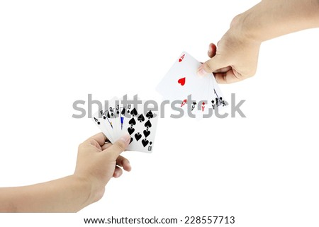 The battle between Royal Straight Flush of spade and Four of a kind in poker game on white background,Focused on card - stock photo