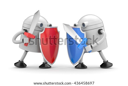 The battle of two robots. 3d illustration - stock photo