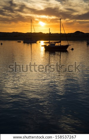 The bay in Morro Bay at sunset. - stock photo