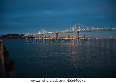 The Bay Lights is an iconic light sculpture designed by world-renowned artist Leo Villareal will shine through 2015. Bay bridge in San Francisco. - stock photo