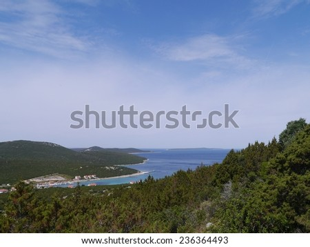 The bay of the village Ist on the island Ist in the Adriatic sea of Croatia - stock photo