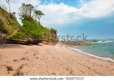 The beach at Fairy Cove Paignton Torbay Devon England UK Europe - stock photo