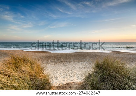 The beach at Hengistbury Head near christchurch in Dorset - stock photo