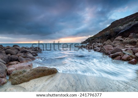 The beach at Penberth Cove a small fishing village in the far west of Cornwall - stock photo