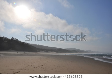 the beach at the Isimangaliso wetland park, St Lucia, South Africa - stock photo