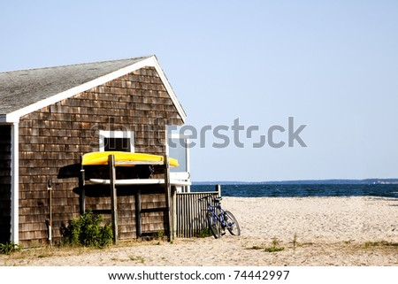 The beach hut at Orient beach state park. - stock photo