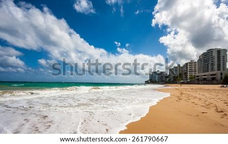 The beach in Condado in San Juan, Puerto Rico, United States. - stock photo