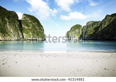 the beach, maya bay, phi phi island thailand - stock photo