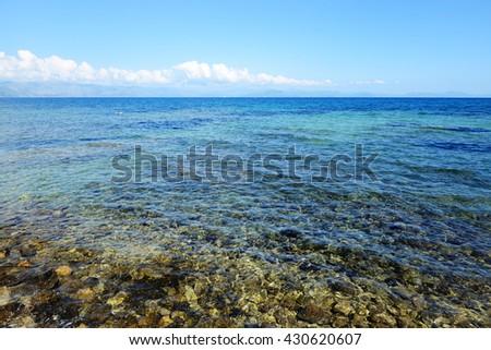 The beach on Corfu island, Greece - stock photo