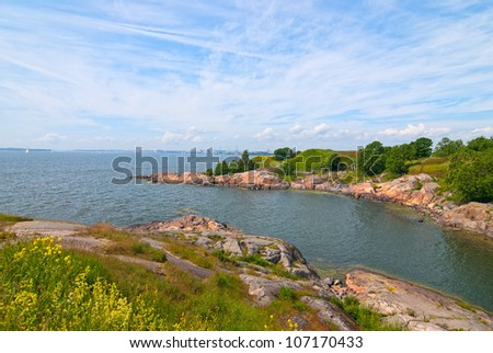 The beach on the island of Suomenlinna. Finland. - stock photo