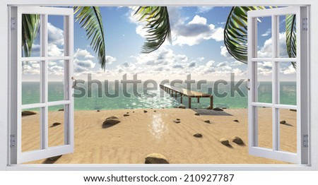 The beach, the view from the window. - stock photo