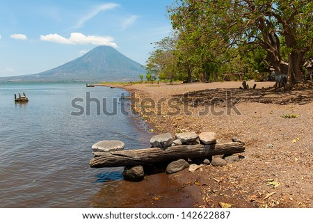 The beaches of Ometepe Island in Nicaragua - stock photo
