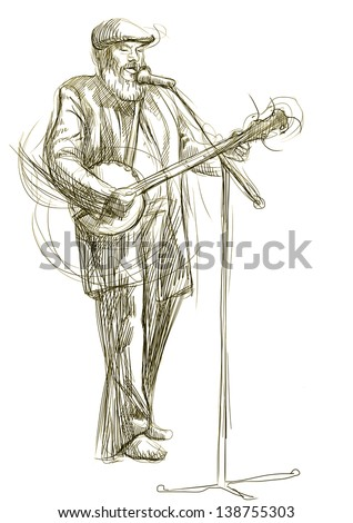 The bearded man playing the banjo and singing into a microphone. /// A hand drawn illustration - full sized (original). - stock photo
