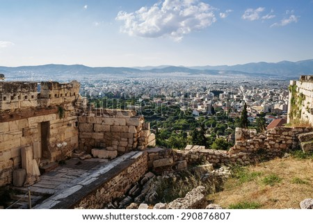 The beautiful and historic acropolis in Athens, Greece - stock photo