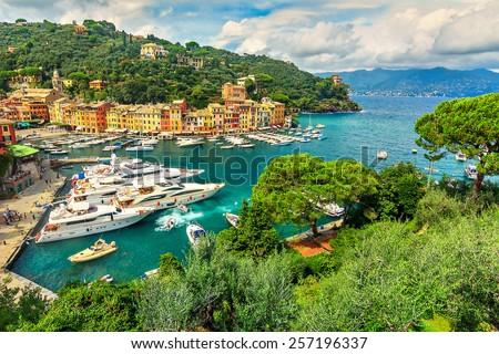 The beautiful bay of Portofino fishing village,luxury harbor,Ligurian Coast,Italy,Europe - stock photo