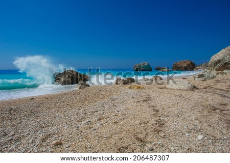 The beautiful beach of Kalamitsi, on the island of Lefkada in Greece - stock photo