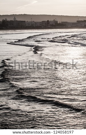 The beautiful beach (picture made in Agadir, Morocco) ( HDR image ) - stock photo